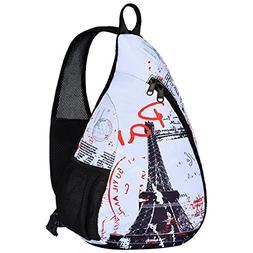 ICOLOR Canvas Sling Shoulder Bag Crossbody Chest Backpack Be