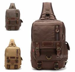 Canvas Tactical Sling Assault Chest Pack Shoulder Backpack B