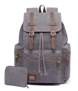 KAUKKO Canvas Travel Bag Laptop Backpack Computer Notebook S