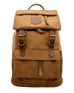 Canvas Vintage Leather Backpack - Unisex Casual Travel Rucks