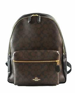 NEW COACH  CHARLIE SIGNATURE COACH LOGO BROWN BLACK BACKPACK