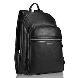 BISON DENIM Classic School Laptop Backpack Genuine Leather B