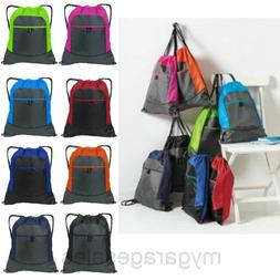 Colorblock Drawstring Backpack Cinch Sack Tote Gym Bag Sport