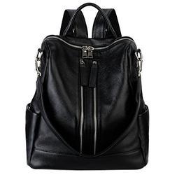 Convertible Real Leather Backpack Versatile Shoulder Bag, Bl