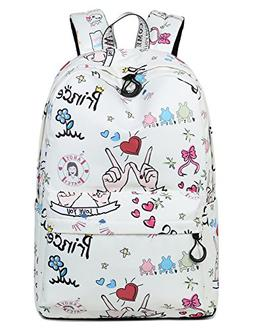 Leaper Cute Heart Print School Backpack Girls College Bags W