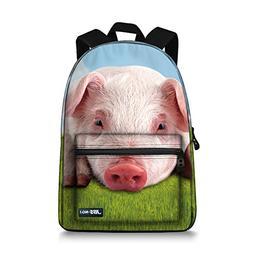 JBS-NO.1 Cute pig Backpack for Teen Girls,Canvas BookBags fo