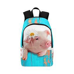 Cute Pig Blue Custom Casual Backpack School Bag Travel Daypa