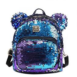 Bags us Women Girls Dazzling Sequins Backpack with Cute Ears