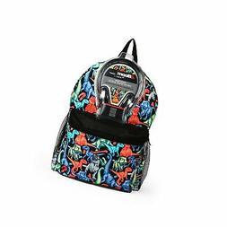 "Dino Print 17"" Kids' Backpack with Headphones"