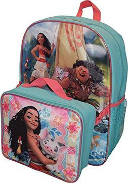 "Moana Disney Girl's Princess 16"" Backpack W/Detachable Lunch"