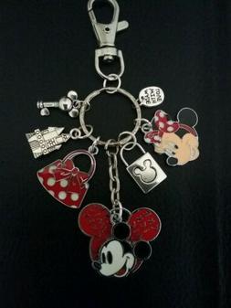 Disneyland Disney Mickey Minnie Mouse Charm Keychain Clip Fo