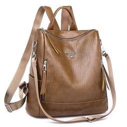 Double Zipper Stylish Lychee Grain PU Leather Handbag Backpa