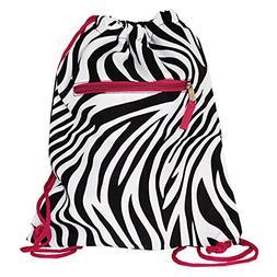 World Traveler 15 Inch Drawstring Backpack Bag, Pink Trim Ze