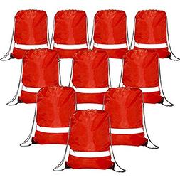 Red Drawstring Backpack Bags Reflective 10 Pack, Promotional