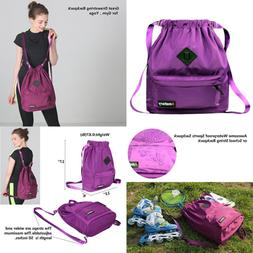 Drawstring Backpack String Bag Sports Waterproof Sackpack Gy