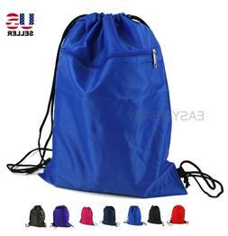 Drawstring Backpack Zippered Pocket Sport Gym Waterproof Cin