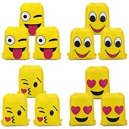 Konsait Emoji Bags for Emoji Party Supplies, Emoji Drawstrin
