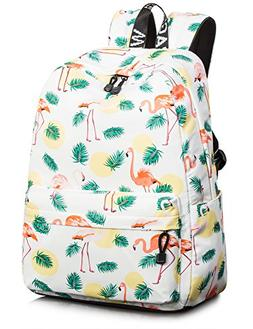 Flamingo School Bookbags for Girls, Large College Laptop Bag