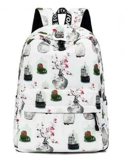 Floral Backpack for Girls, College Bookbag Travel Daypack La