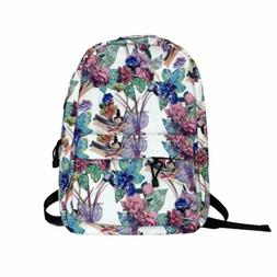 Floral Backpack Women's Girl's College School Book Bag T