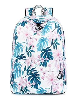 Leaper Floral Laptop Backpack Ink Painting School Bookbags C