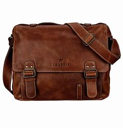 Finelaer Genuine Leather Flap-Over Executive Laptop Messenge