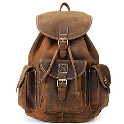 "Kenox 16"" Genuine Leather Laptop Backpack Vintage College Sc"
