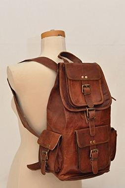 "HLC 20"" Genuine Leather Retro Rucksack Backpack College Bag,"