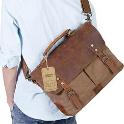 Langforth Genuine Leather Vintage 15.6 Laptop Canvas Messeng
