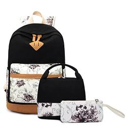 Gazigo Geometry Girls Canvas College Laptop Backpack + Lunch