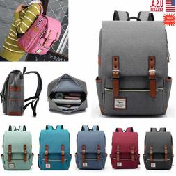 Girl Women Men Canvas Leather Travel Backpack Satchel Rucksa