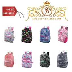 Girls Backpack 17 Inch All Over Printed Padded Straps Ladies