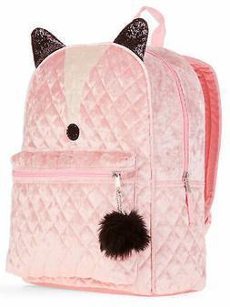 """Girls Fox Pink Velvet Backpack 16"""" Quilted Pom Pom Zipper Pu"""