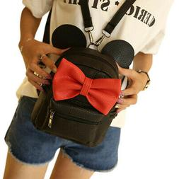 Girls Mini Backpack Preppy Style Mickey Ears Bowknot School