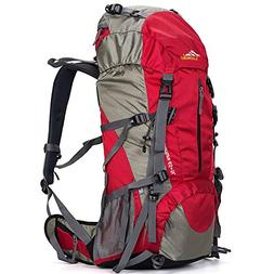 Loowoko Hiking Backpack 50L Travel Daypack Waterproof with R