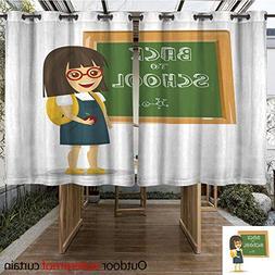 WinfreyDecor Home Patio Outdoor Curtain Schoolgirl with Back