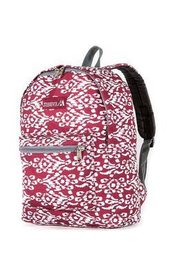 Everest Kids' Basic Pattern Midsize Backpack, Burgundy/White
