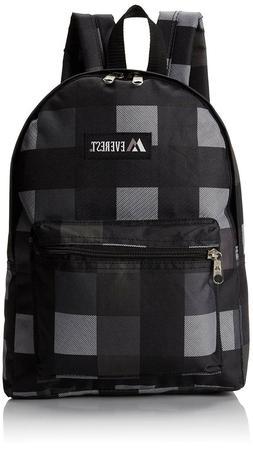 Everest Kids' Basic Pattern Midsize Backpack, Charcoal/Black