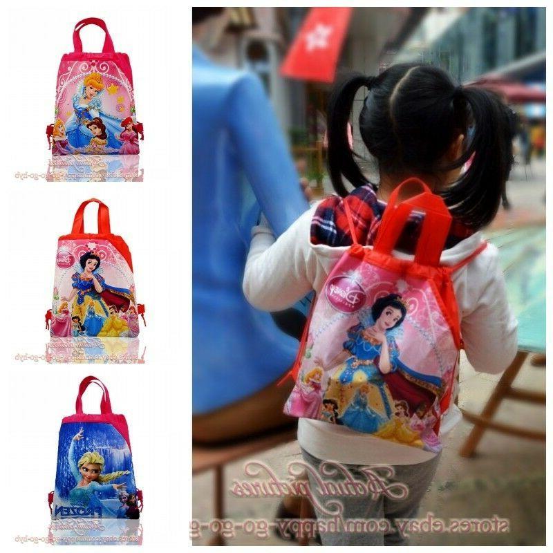 1pcs princess kids cartoon drawstring backpacks school