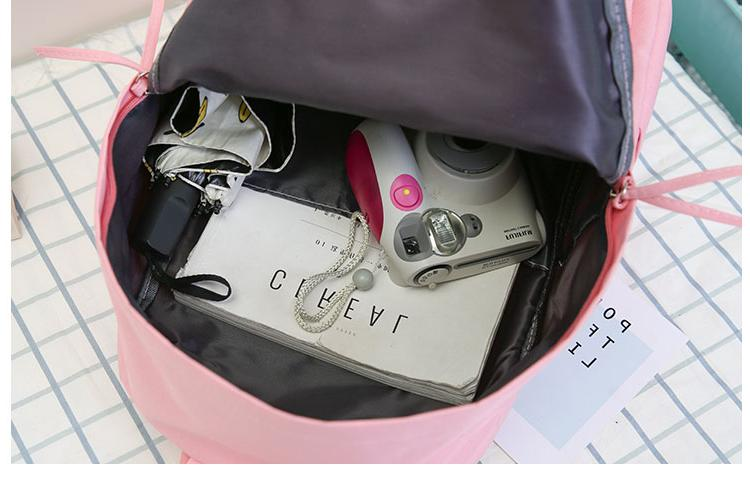 2019 High School Student Schoolbag Black Canvas for Bolsas Femininas Bag