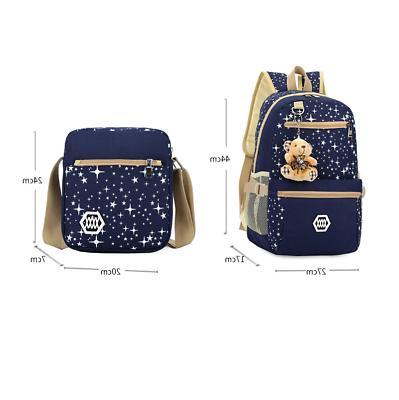 3Pcs Set School Canvas Travel Bag Bookbag