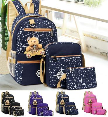 3Pcs Women School Backpack Canvas Travel Bag Satchel