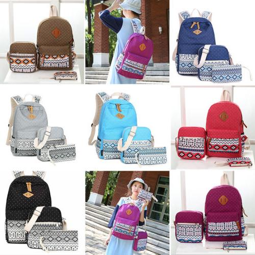 3pcs/Set Boho Girls Kids Backpack Women Canvas Travel Bookba