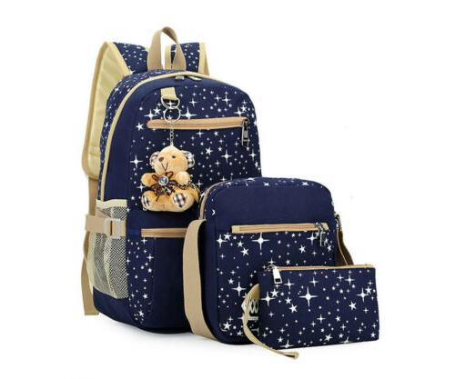 3Pcs/Set School Backpack Teenage Women Canvas Travel