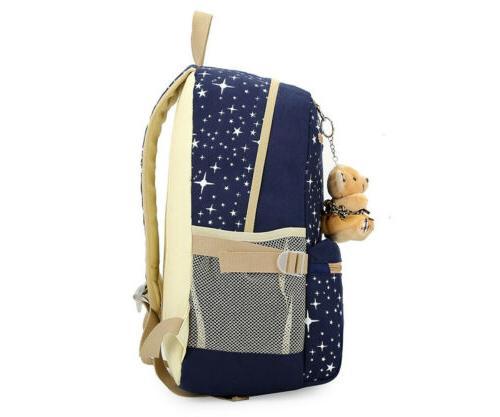 3Pcs/Set Backpack Canvas Travel Bag