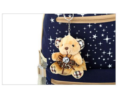 3Pcs/Set Girl Backpack Canvas Bag