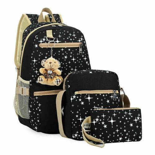 3Pcs/Set Backpack Teenage Canvas Travel