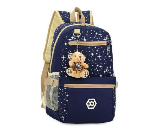 3Pcs/Set Girl Shoulder Backpack Bookbag Women Canvas Bag