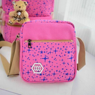 3Pcs Set Women School Backpack Canvas Bag