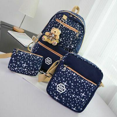 3Pcs School Backpack Canvas Bag Shoulder